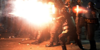 Rocks, rubber bullets fly in 2nd night of post-election clashes in Indonesia
